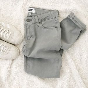 PAIGE Verdugo Ankle Zip Skinny Jeans Gray {F42}